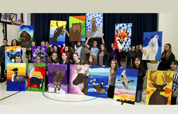 Galt art students give 15 paintings to Cookshire Elementary